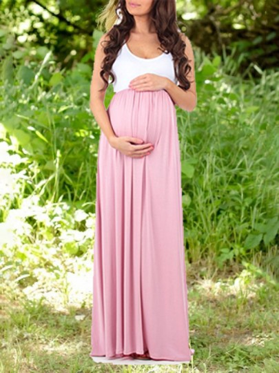 Pink White Patchwork Draped High Waisted Elegant Maternity Party