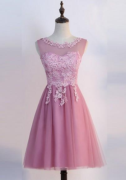 Pink Lace Grenadine Draped Fluffy Puffy Tulle Bridesmaid Elegant Party Midi Dress