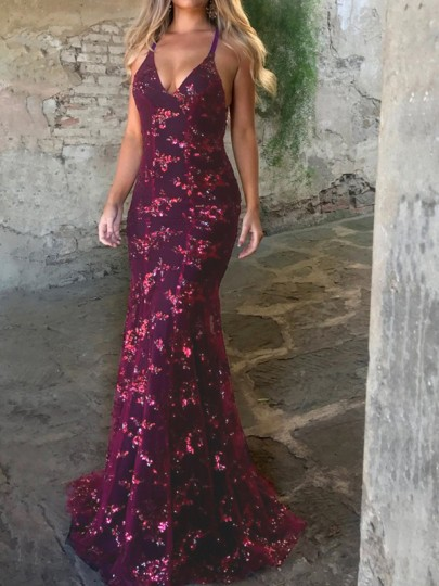 Burgundy Sequin Spaghetti Strap Backless Mermaid Glitter V-neck Elegant Party Maxi Dress