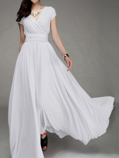 White Ruched Flowy V-neck High Waisted Bohemian Bridesmaid Graduation Party Maxi Dress