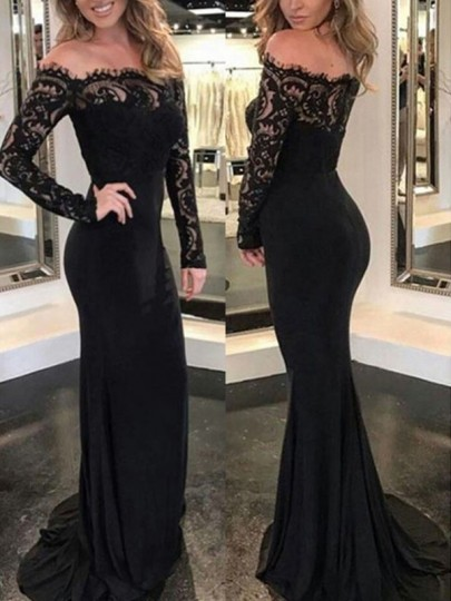 1124cfa7bd77 Black Patchwork Lace Off Shoulder Backless Banquet Mermaid Elegant Prom  Party Maxi Dress - Maxi Dresses - Dresses