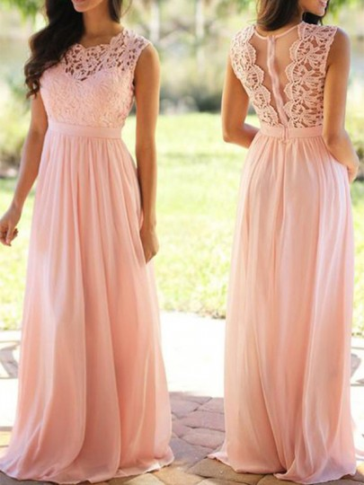 Dusty Pink Lace Draped Chiffon High Waisted Cut Out Elegant Party Princess Prom Maxi Dress
