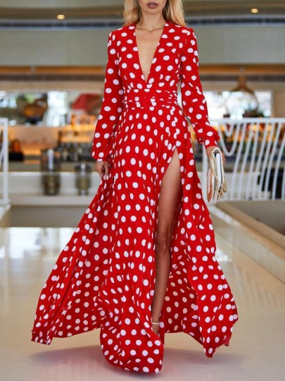 de4bc144a97 Red White Polka Dot Belt Deep V-neck Side Slits Bohemian Beachwear Maxi  Dress - Maxi Dresses - Dresses