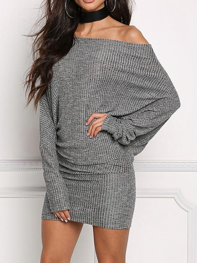 Grey Boat Neck Long Sleeve Fashion Mini Dress