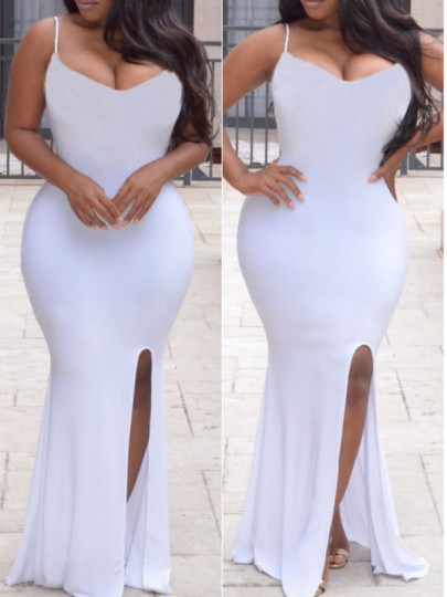 White Spaghetti Strap Backless Side Slits Bodycon Mermaid Prom Evening Party Maxi Dress