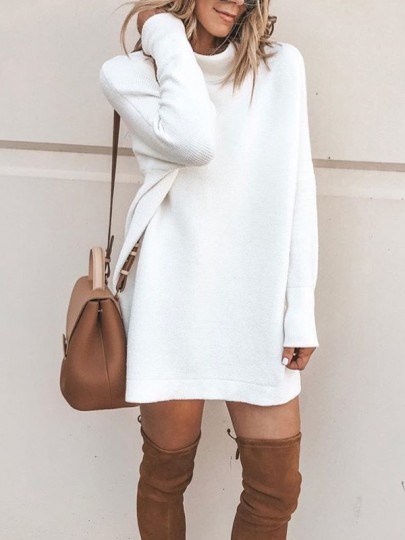 White High Neck Fashion Knit Mini Dress