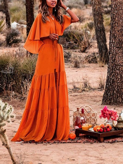 cbb17e5dc8c19e Orange Ruffle Pleated Belt Bohemian Beachwear Boho Party Maxi Summer Dress  - Maxi Dresses - Dresses