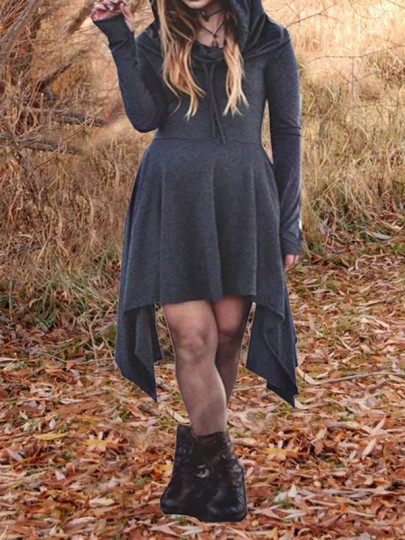 Dark Grey Pleated Restyle Witchcraft Halloween Irregular Oversized Hooded Gothic Alternative Goth Cardigan Mini Dress