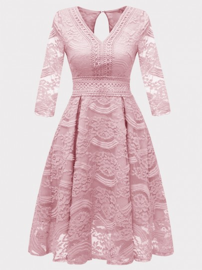 Pink Patchwork Lace Cut Out Draped V-neck Homecoming Party Midi Dress