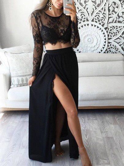 Black Cut Out Lace Bodycon Round Neck Long Sleeve Two-Piece Dresses