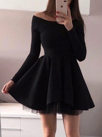 Black Patchwork Grenadine Draped Off Shoulder Long Sleeve Tutu Mini Dress