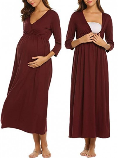 Wine Red Pleated V-neck 3/4 Sleeve Fashion Maternity Dress