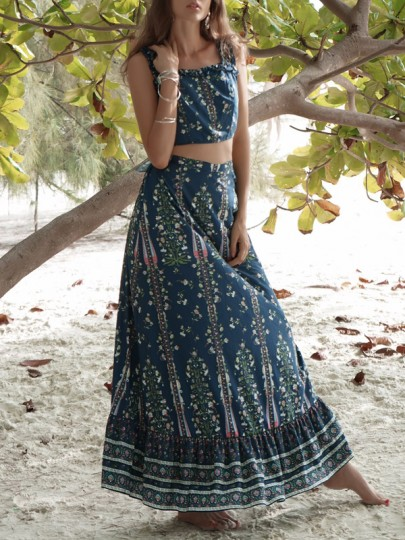 Dark-blue Gypsy Floral Print Ruffle Bow Backless Bohemian Two-Piece Maxi Dress