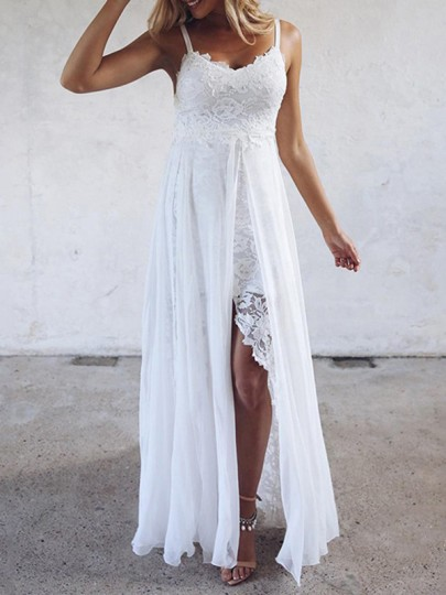 White Patchwork Lace Irregular Silt Spaghetti Strap Beach Wedding Party Maxi Dress