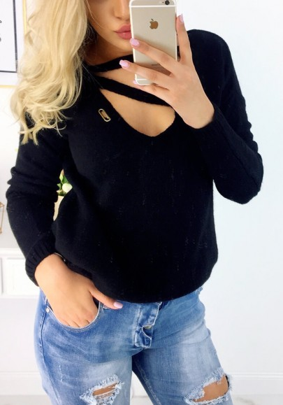 Black Cut Out V-neck Long Sleeve Fashion Pullover Sweater