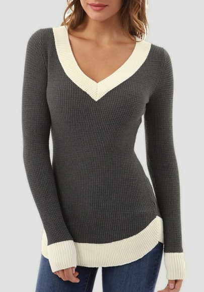 Grey Patchwork V-neck Long Sleeve Pullover Sweater