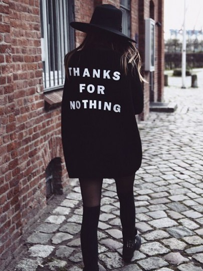Black THANKS FOR NOTHING Embroidery Long Sleeve Oversize Casual Cardigan Sweater