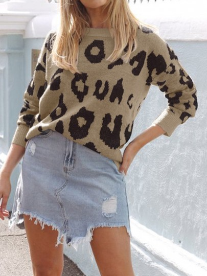 Khaki Leopard One Shoulder Long Sleeve Casual Pullover Sweater