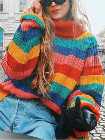 Red-Green Striped Rainbow Draped High Neck Oversized Casual Pullover Jumper Sweater