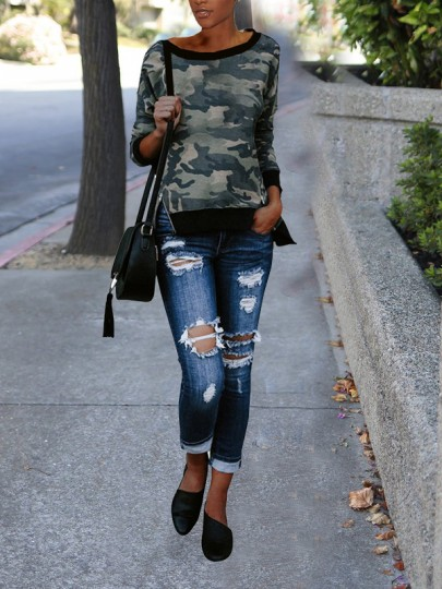 Camouflage Zipper High-Low Long Sleeve Round Neck Casual Sweatshirt