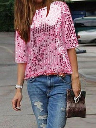 Pink Glitter Sparkly Sequin Top Round Neck Short Sleeve Fashion Clubwear Party T-Shirt