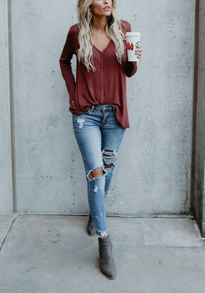 Wine Red Plain Buttons V-neck Long Sleeve Casual T-Shirt