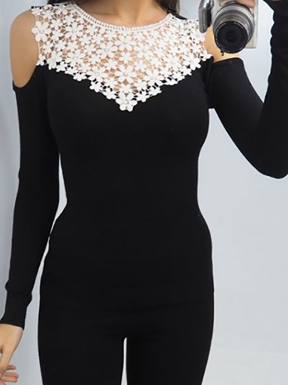 Black Patchwork Lace Cut Out Long Sleeve Casual Going out T-Shirt