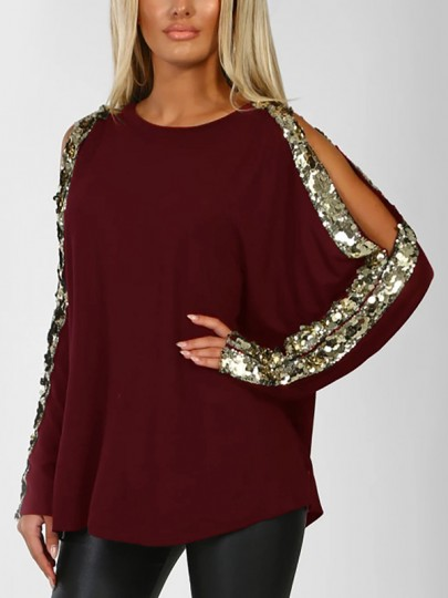 Wine Red Sequin Cut Out Round Neck Long Sleeve Casual T-Shirt