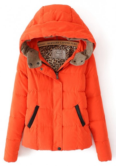 Orange Plain Collar With Hat Padded Coat