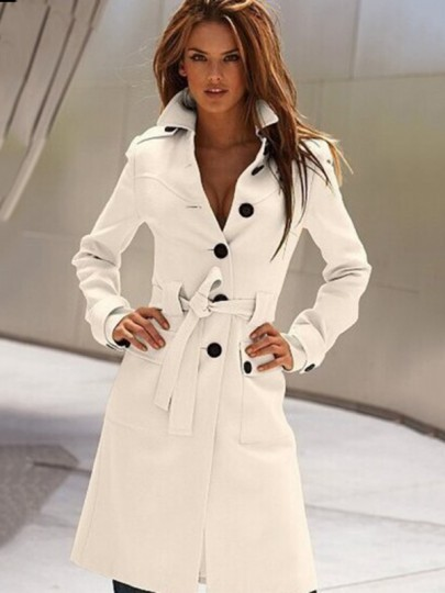 White Plain Belt Single Breasted Wool Coat