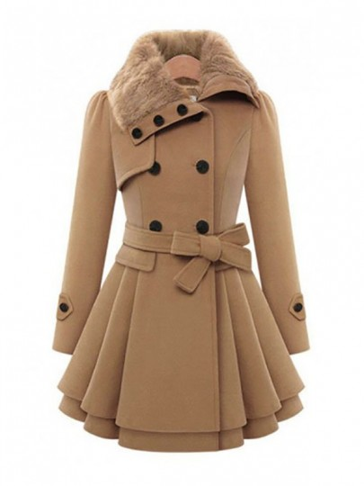 Camel Pleated Fur Buttons Belt Double Breasted Tailored Fitted Peplum Lapel UK Skater Flare Wool Coat