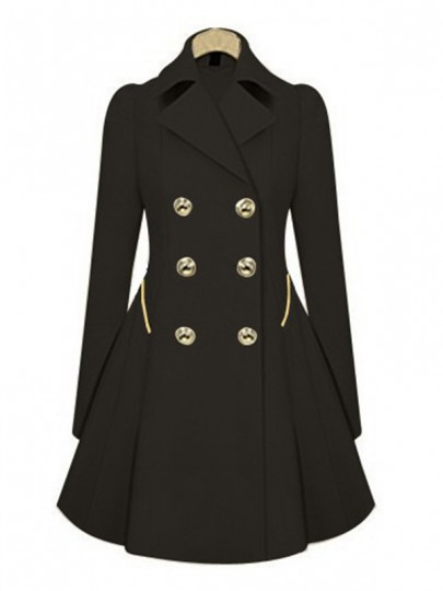 Black Pockets Peplum Tailored Collar Double Breasted Trench Pea Coat