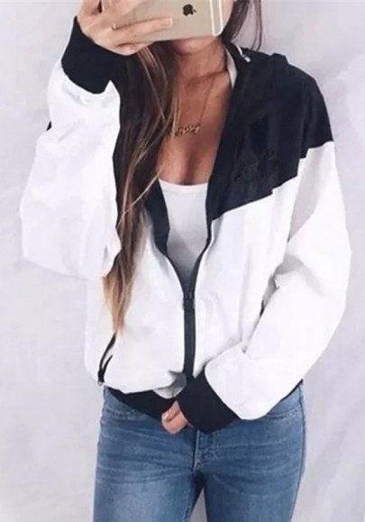 White-Black Patchwork Zipper Hooded Long Sleeve Casual Jacket