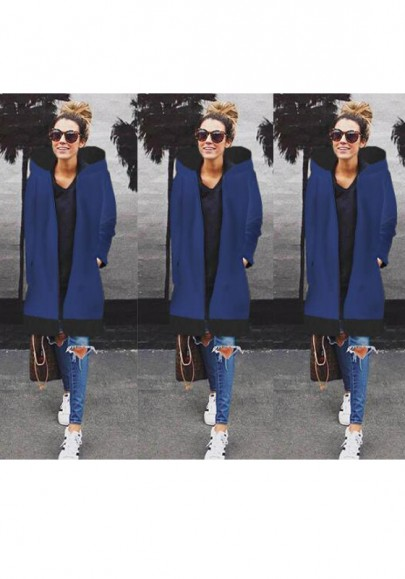 Blue Patchwork Pockets Zipper Hooded Casual Coat