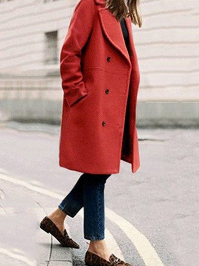 Brick Red Plain Pockets Single Breasted Turndown Collar Suede Coat
