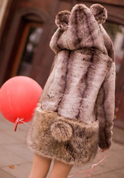 Brown Draped Pockets Ears Hooded Faux Fur Cute Thick Coat