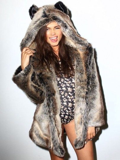 Brown Patchwork Fur Irregular Hooded Long Sleeve Cat Ears Fashion Coat