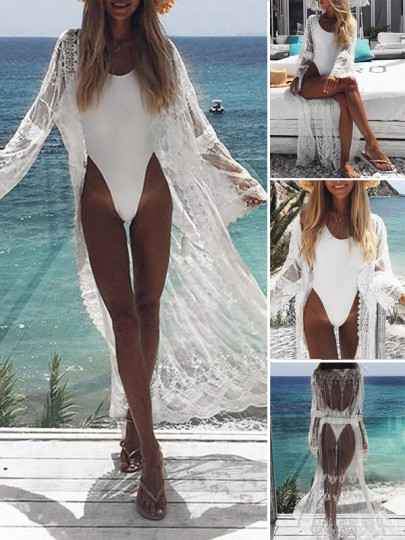 White Lace Grenadine Beachwear Beach Look Kimono Cover Up long Gauze Cardigan