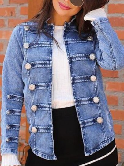 Blue Buttons Double Breasted Long Sleeve Casual Preppy Denim Jacket