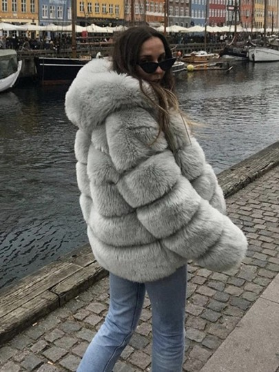 Light Grey Fuzzy Faux Rabbit Fur Hooded Bubble Fur Coat Long Sleeve Casual Outerwear
