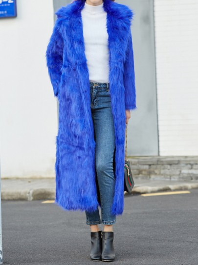 Blue Pockets Turndown Collar Long Sleeve Fashion Faux Fur Coat