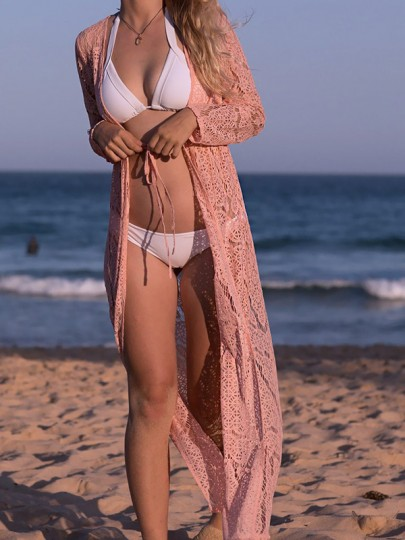 Pink Cut Out Lace Bohemian Cardigan Cover Up Kimono