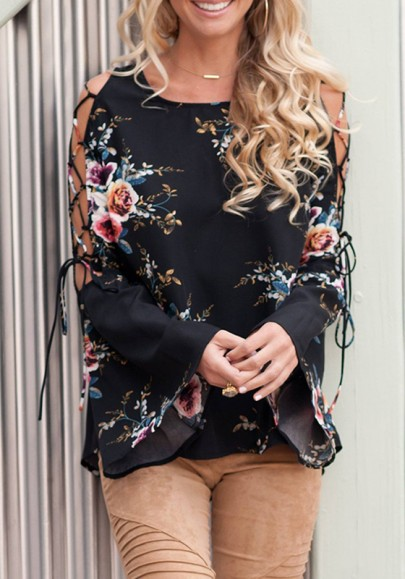 Black Floral Cut Out Ruffle Print Round Neck Fashion Blouse