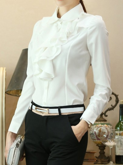 White Ruffle Turndown Collar Long Sleeve Elegant Formal Work Blouses