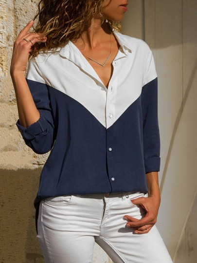 Navy Blue Patchwork Buttons Turndown Collar Casual Blouse