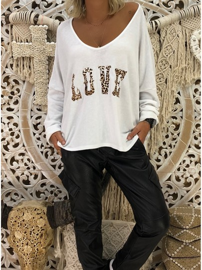 White Leopard Print V-neck Long Sleeve Fashion Blouse