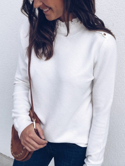 White Patchwork Lace Buttons Long Sleeve Casual Blouse