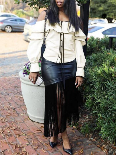 Beige-Black Patchwork Ruffle Single Breasted Off Shoulder Flare Sleeve Casual Blouse