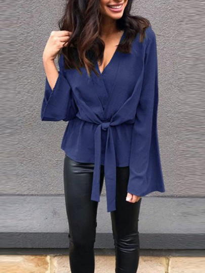 Blue Sashes Irregular V-neck Long Sleeve Fashion Blouse
