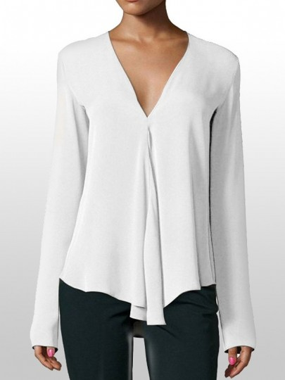 White Draped V-neck Long Sleeve Fashion Chiffon Blouse